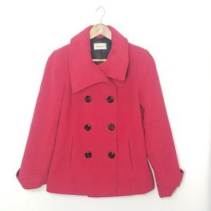 Precis Petite Red Wool Cashmere Pea Coat Jacket